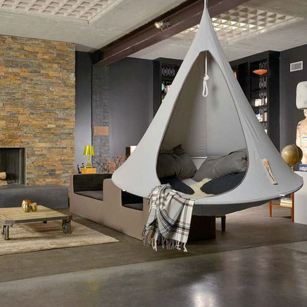 Indoor outdoor double hanging cacoon wicked gadgetry for How to install a hanging hammock chair indoors