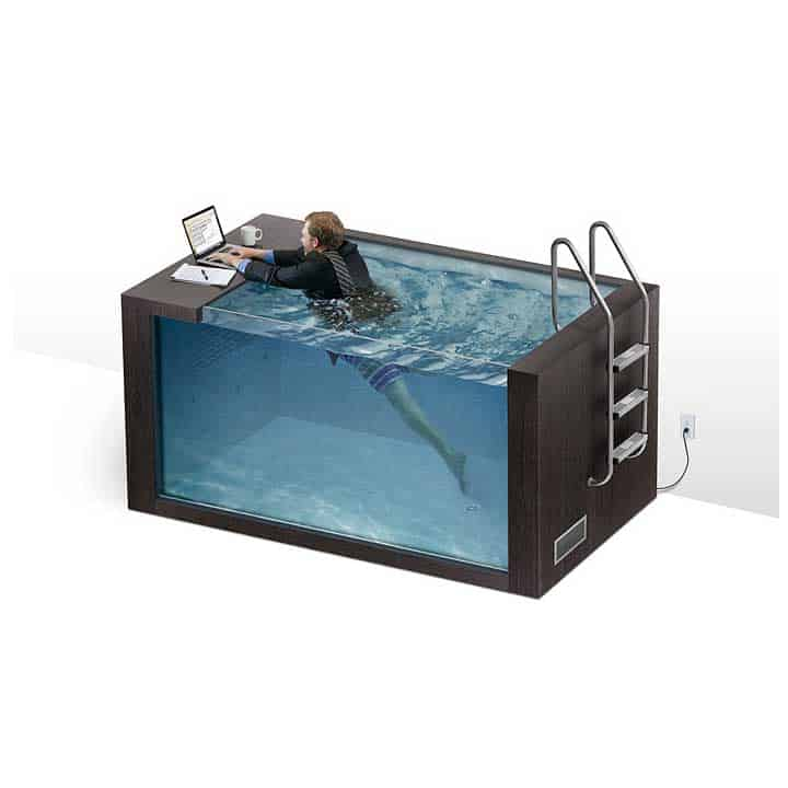 swim-desk with man swimming and working