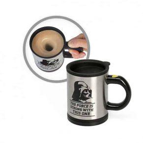 self stirring mug with coffee