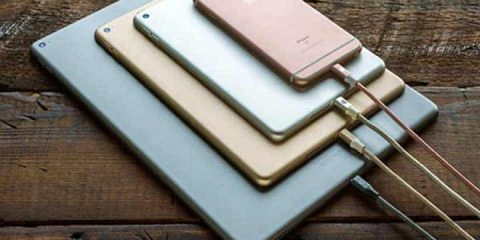 Premium-Braided-Lightning-Cable plugged into several devices