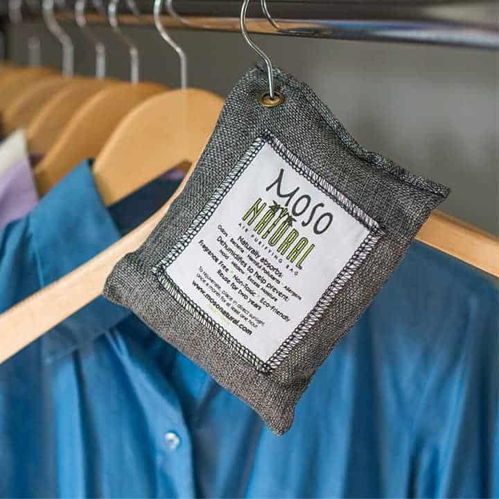 Air-Purifying-Bag hanging in closet