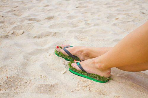 5b45bdc4ffb7 The Kusa Unisex Grass Flip Flops is like walking barefoot on grass!