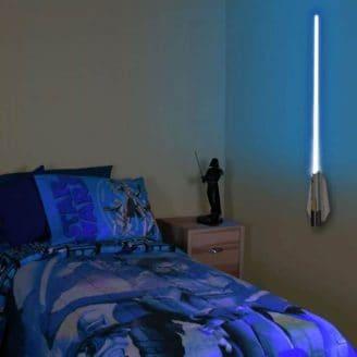 Star-Wars-Lightsaber-Night-light on bedroom wall