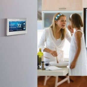 programmable-thermostat on wall at home