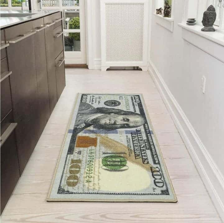 100 dollar bill rug