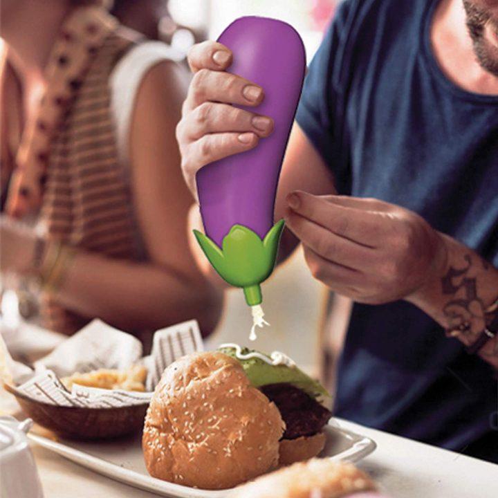 eggplant shaped sauce bottle