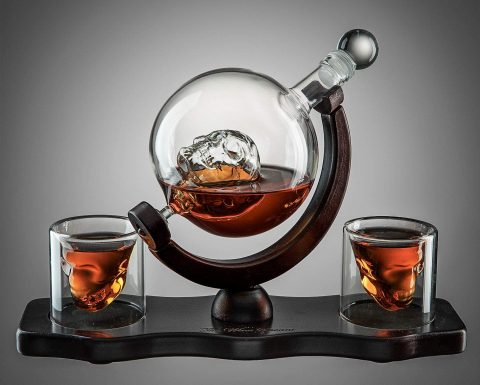 Skull Decanter Set on Grey Background