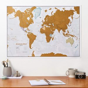 Scratch Off World Travel Map displayed in home or office