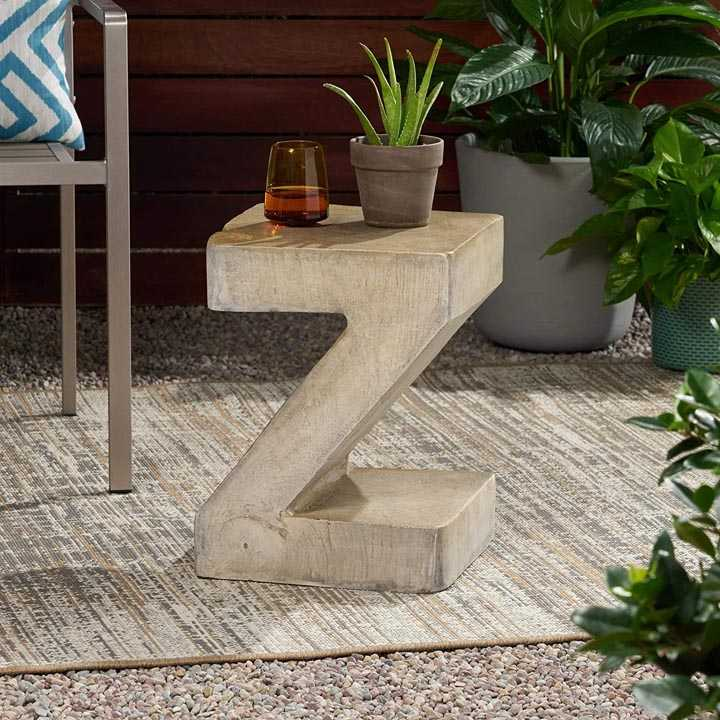 Z-Shaped Outdoor Concrete Table
