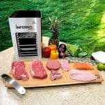 Inferno Infrared Grill with meat and fruits