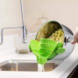 Clip On Colander strains safely into sink