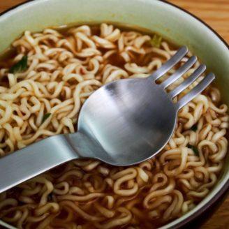 ramen noodle spoon fork